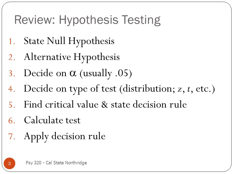 Review: Hypothesis Testing