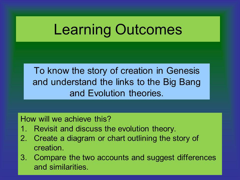 Learning Outcomes To know the story of creation in Genesis and understand the links to the Big Bang and Evolution theories.