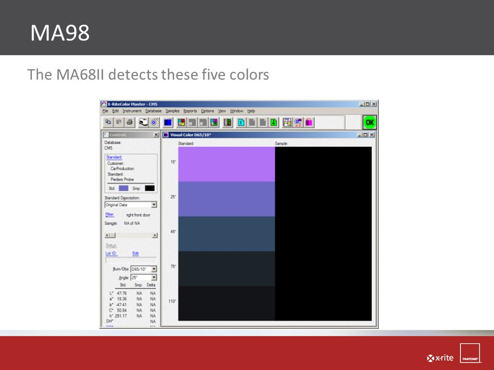 The MA68II detects these five colors