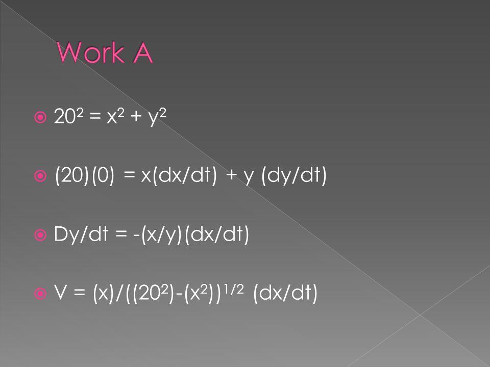 Work A 202 = x2 + y2 (20)(0) = x(dx/dt) + y (dy/dt)