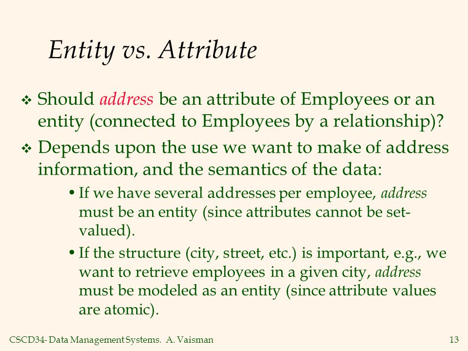 Entity vs. Attribute Should address be an attribute of Employees or an entity (connected to Employees by a relationship)