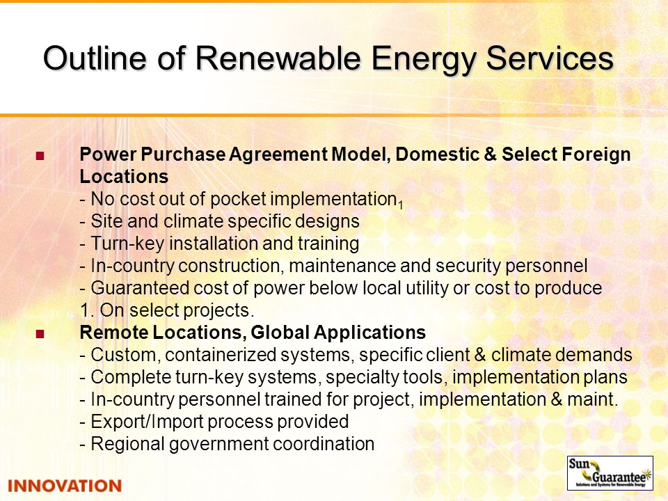 Outline of Renewable Energy Services