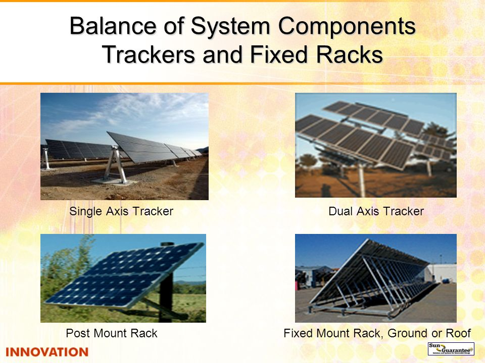Balance of System Components Trackers and Fixed Racks