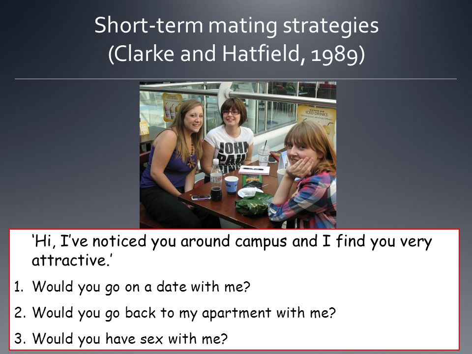 Short-term mating strategies (Clarke and Hatfield, 1989)