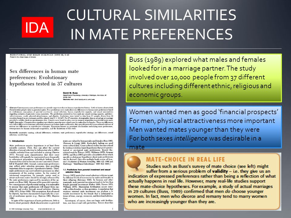 CULTURAL SIMILARITIES IN MATE PREFERENCES