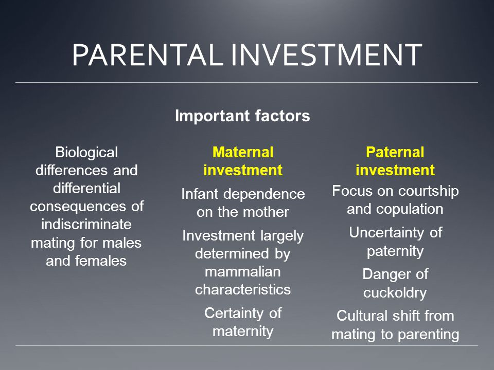 PARENTAL INVESTMENT Important factors