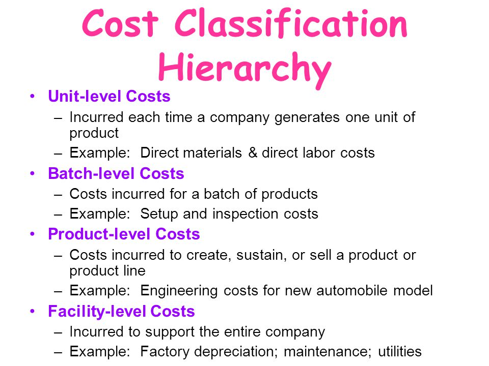 Cost Classification Hierarchy
