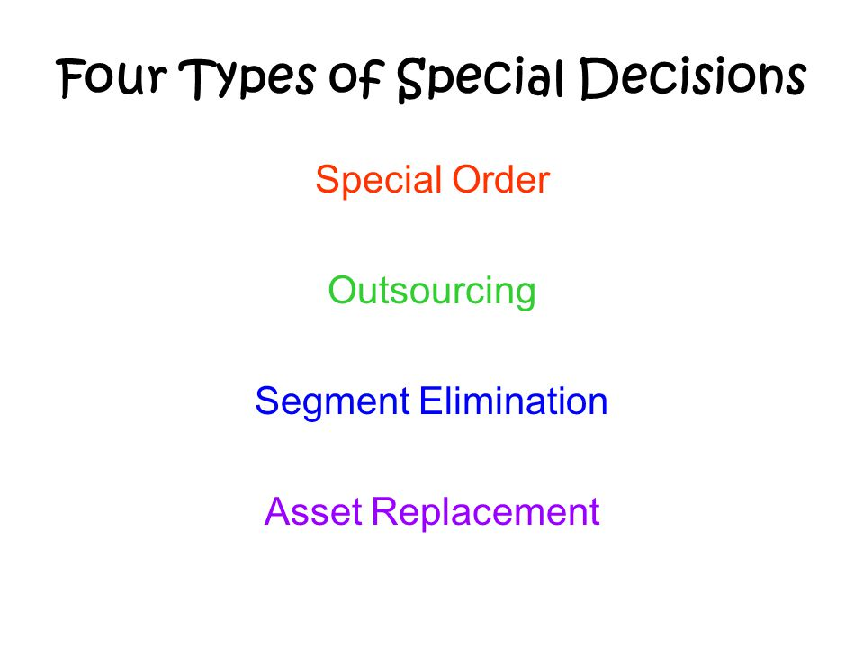 Four Types of Special Decisions