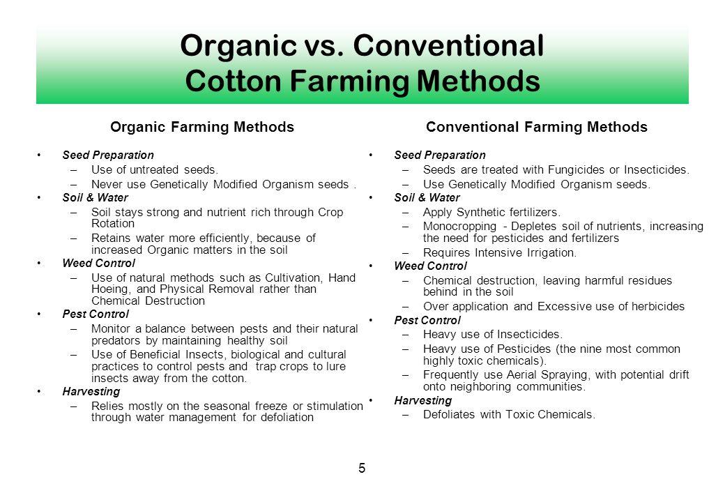 Organic vs. Conventional Cotton Farming Methods