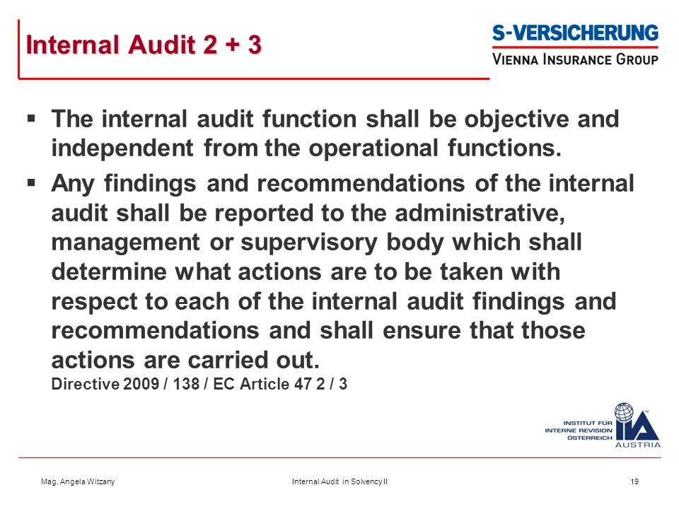 Internal Audit in Solvency II