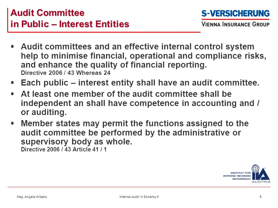 Audit Committee in Public – Interest Entities