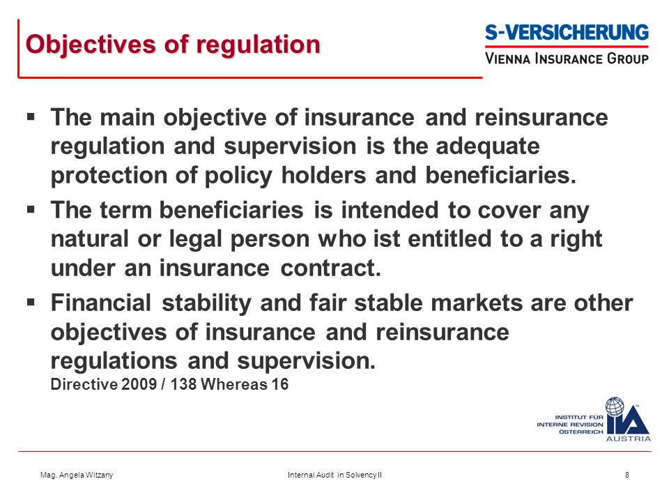 Objectives of regulation
