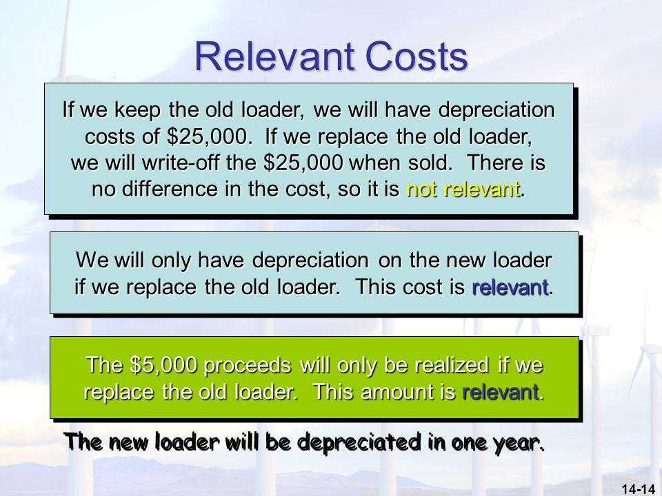 Relevant Costs If we keep the old loader, we will have depreciation
