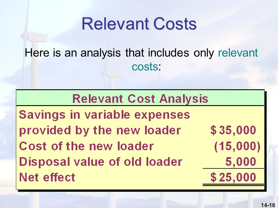 Here is an analysis that includes only relevant costs: