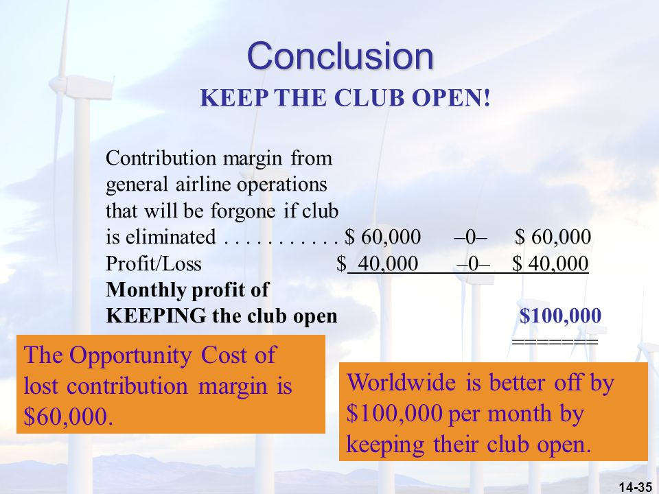 Conclusion KEEP THE CLUB OPEN!