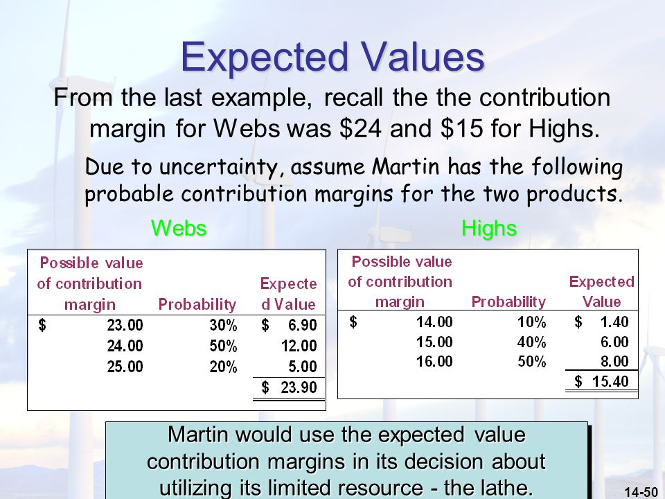 Expected Values From the last example, recall the the contribution margin for Webs was $24 and $15 for Highs.