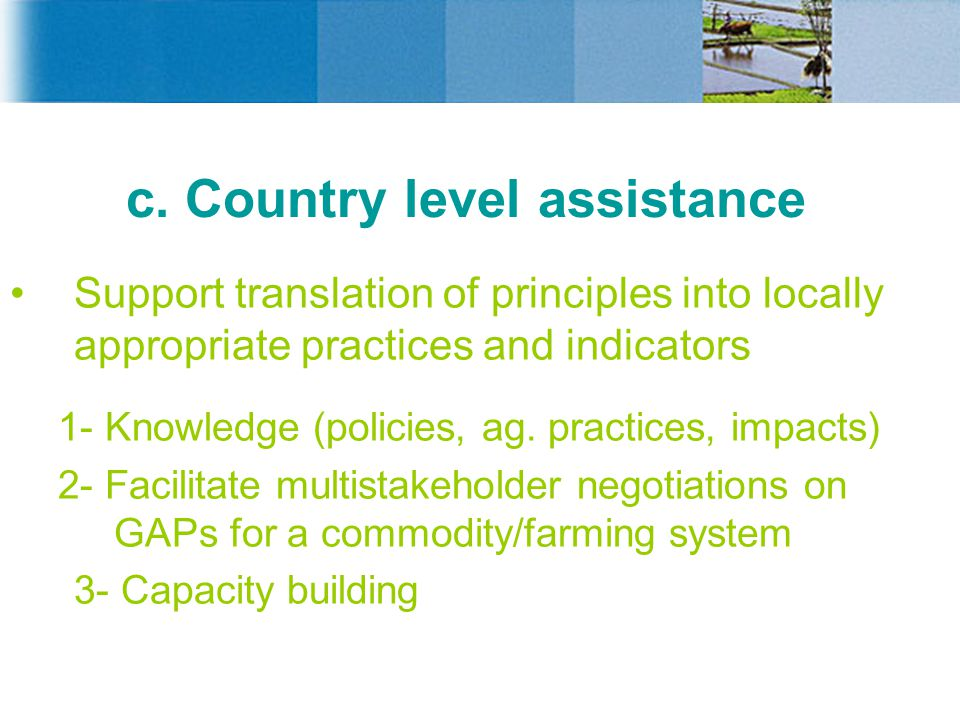 c. Country level assistance