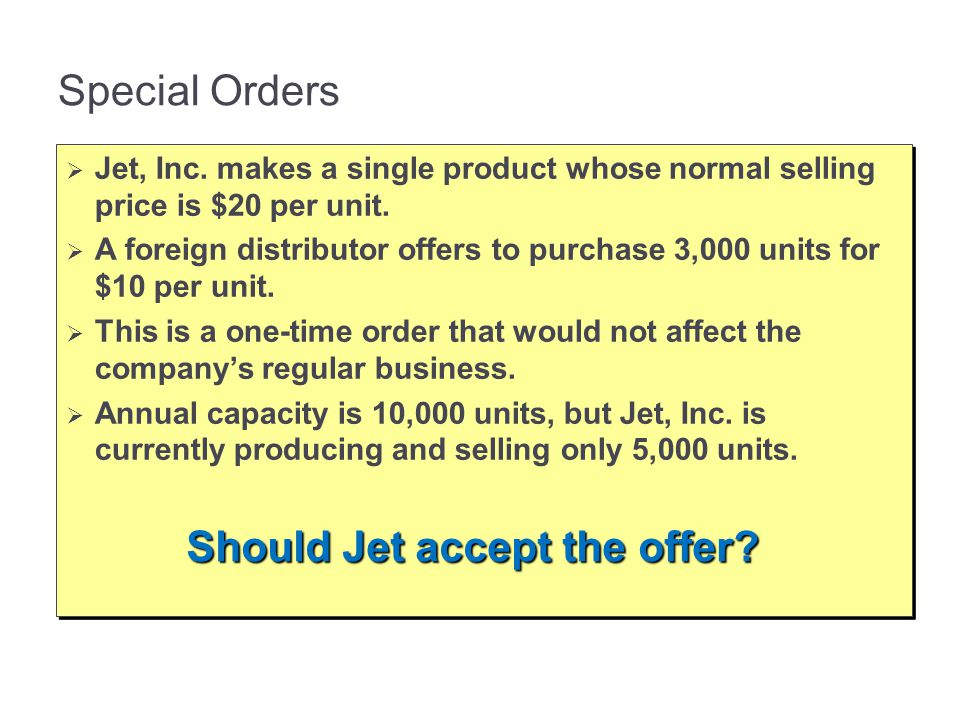 Should Jet accept the offer