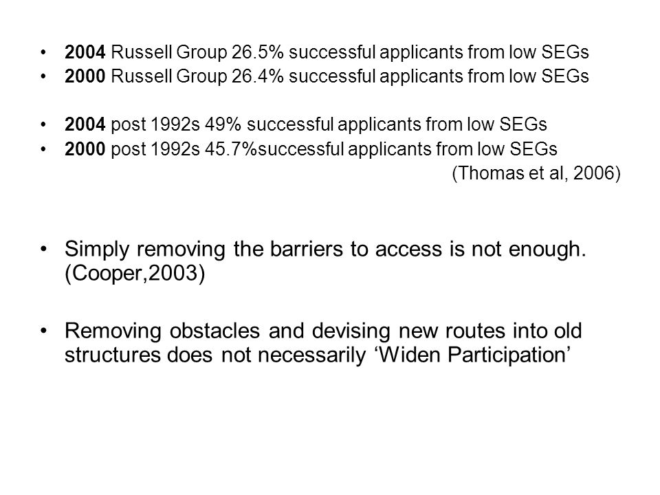 Simply removing the barriers to access is not enough. (Cooper,2003)