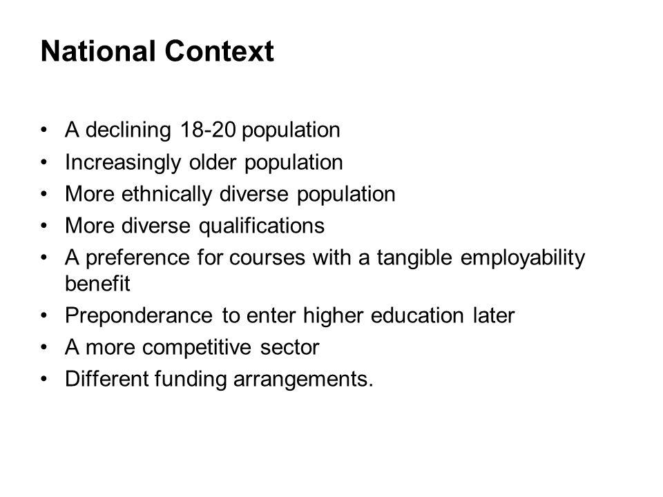 National Context A declining 18-20 population