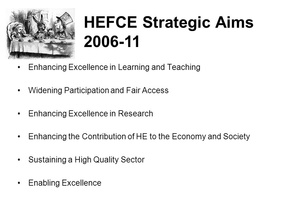 HEFCE Strategic Aims 2006-11. Enhancing Excellence in Learning and Teaching. Widening Participation and Fair Access.