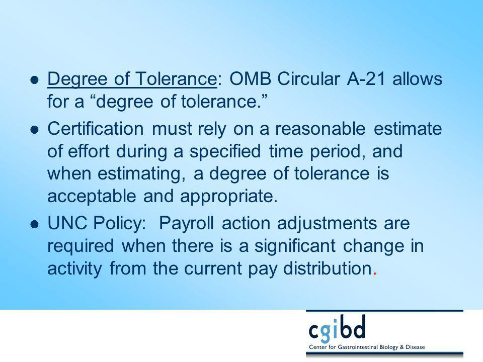 Degree of Tolerance: OMB Circular A-21 allows for a degree of tolerance.