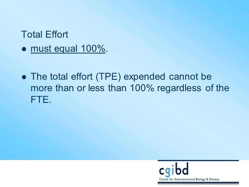 Total Effort must equal 100%.