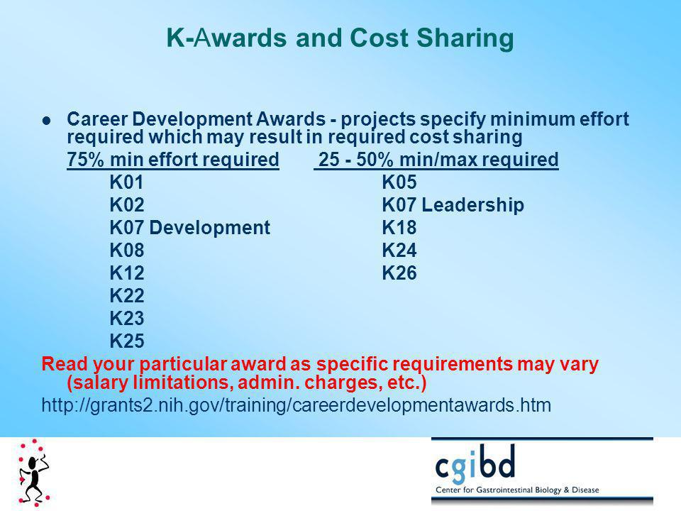 K-Awards and Cost Sharing