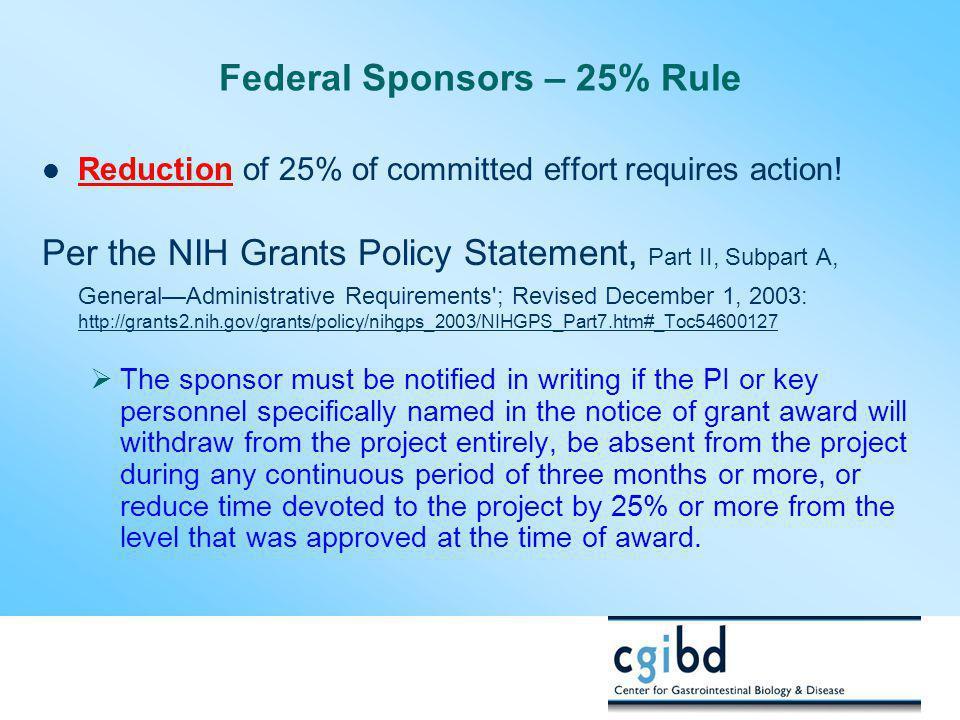 Federal Sponsors – 25% Rule