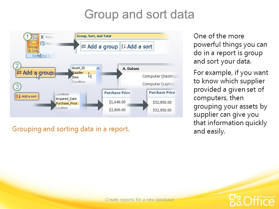 Create reports for a new database