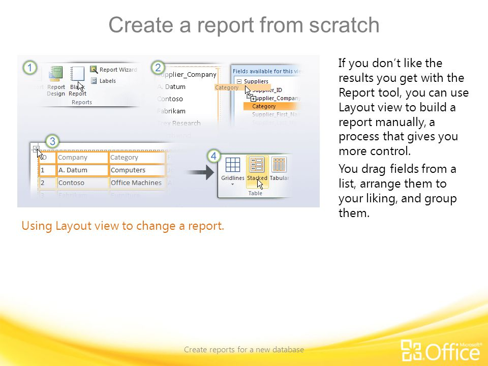 Create a report from scratch