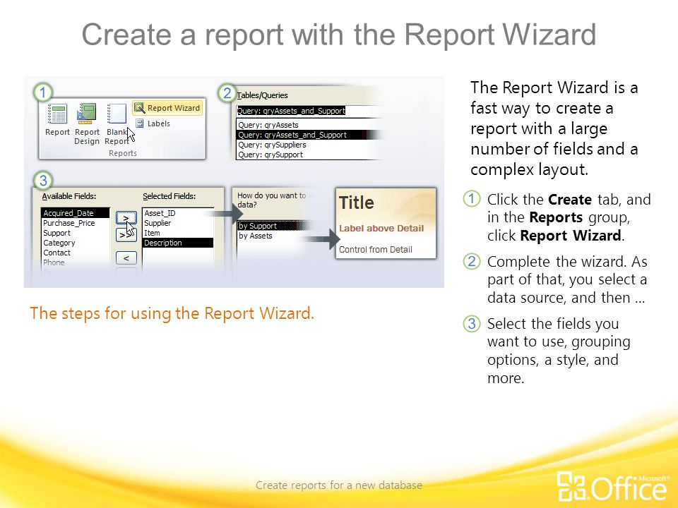 Create a report with the Report Wizard