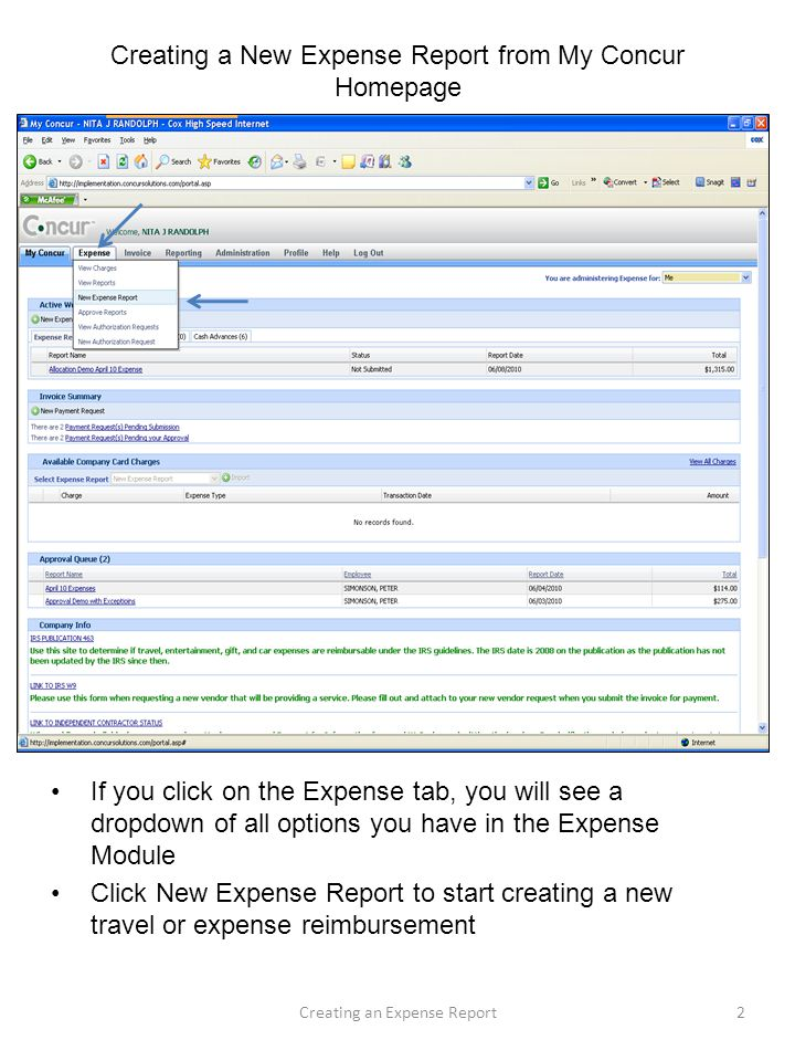 Creating a New Expense Report from My Concur Homepage