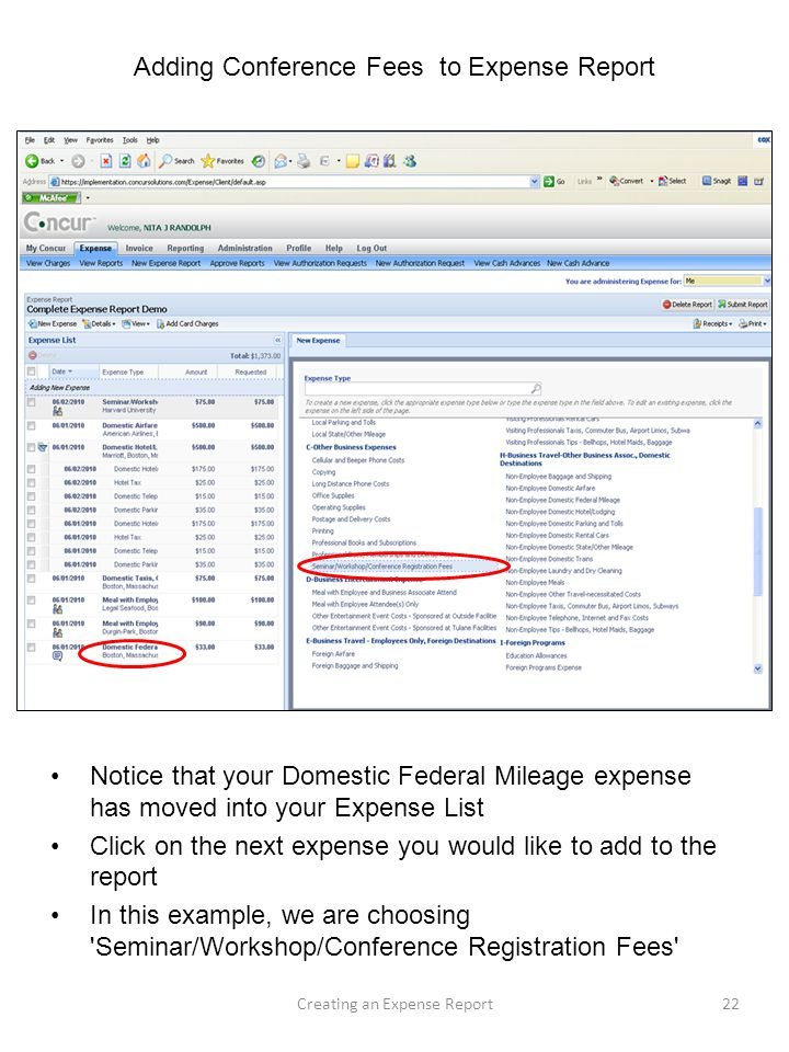 Adding Conference Fees To Expense Report  Example Expense Report