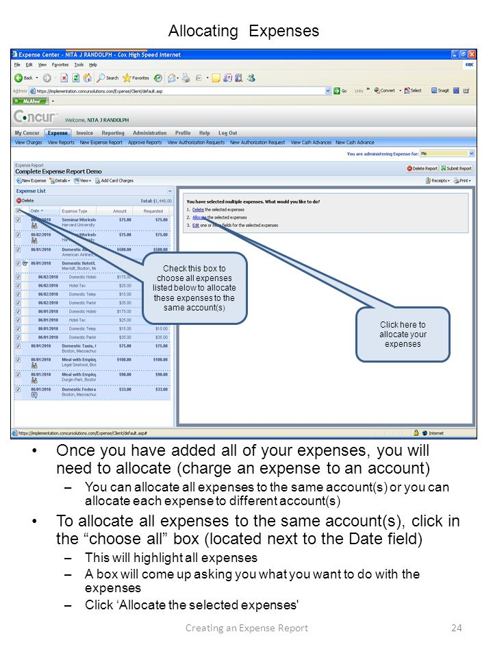 Allocating Expenses Check this box to choose all expenses listed below to allocate these expenses to the same account(s)