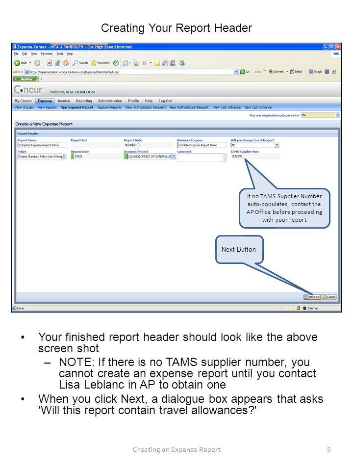 Creating Your Report Header