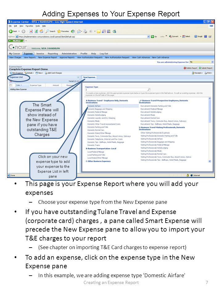 Adding Expenses to Your Expense Report