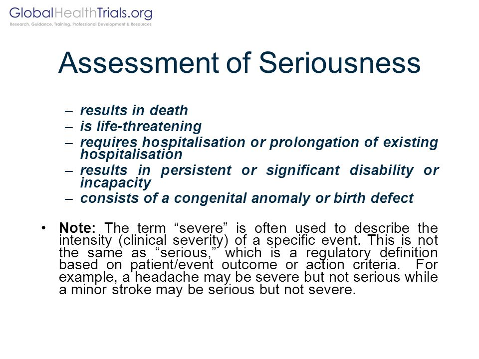Assessment of Seriousness