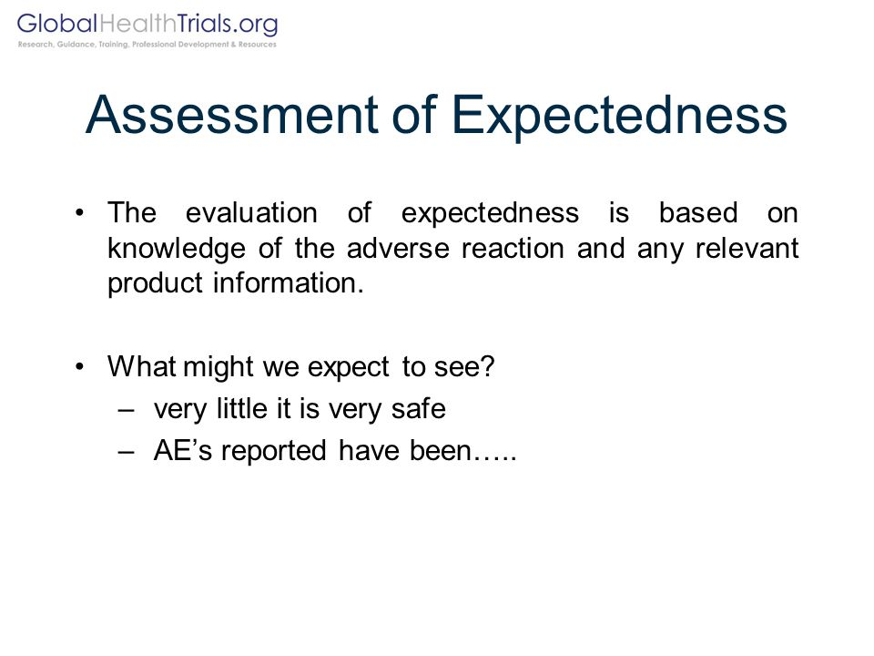 Assessment of Expectedness
