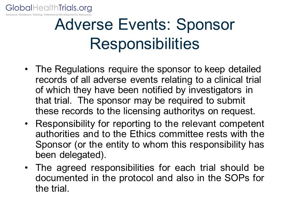 Adverse Events: Sponsor Responsibilities