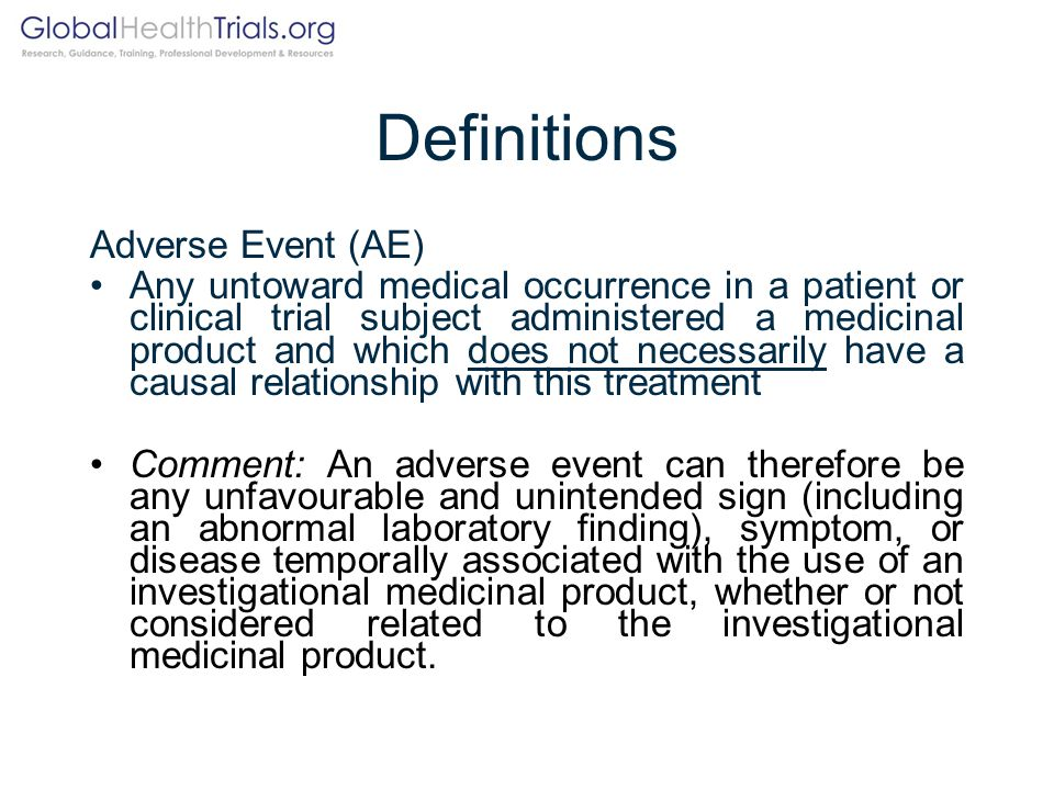 Definitions Adverse Event (AE)