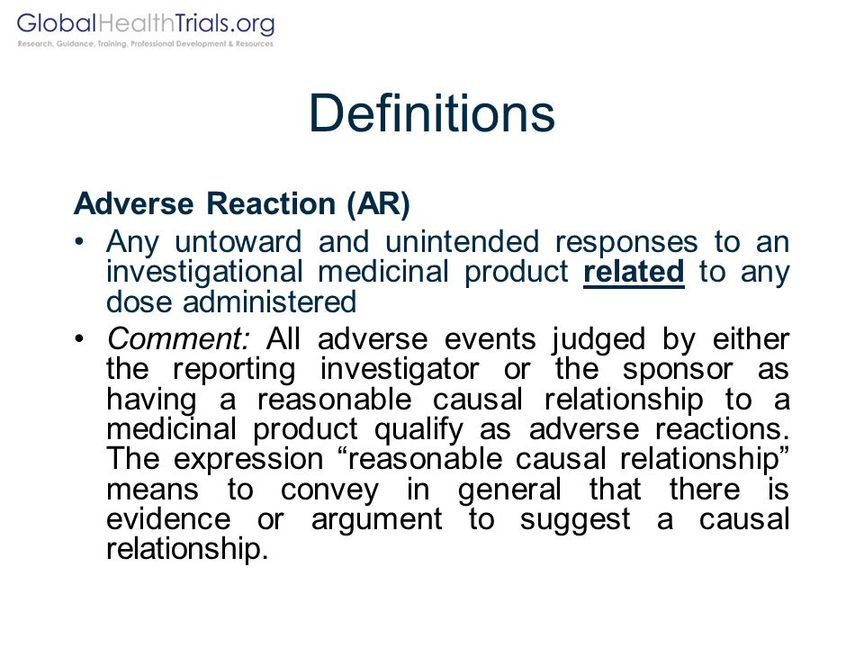 Definitions Adverse Reaction (AR)