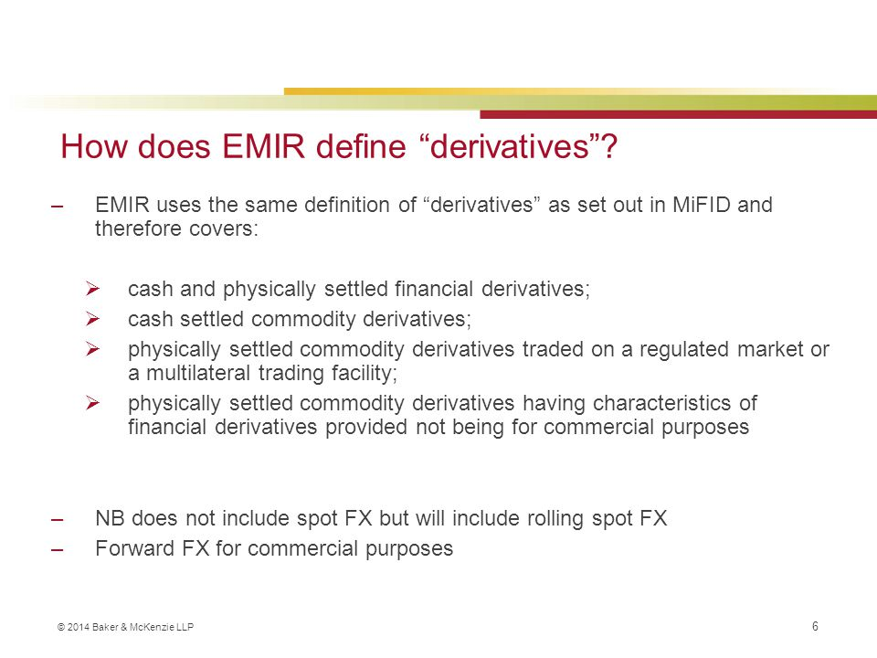 How does EMIR define derivatives