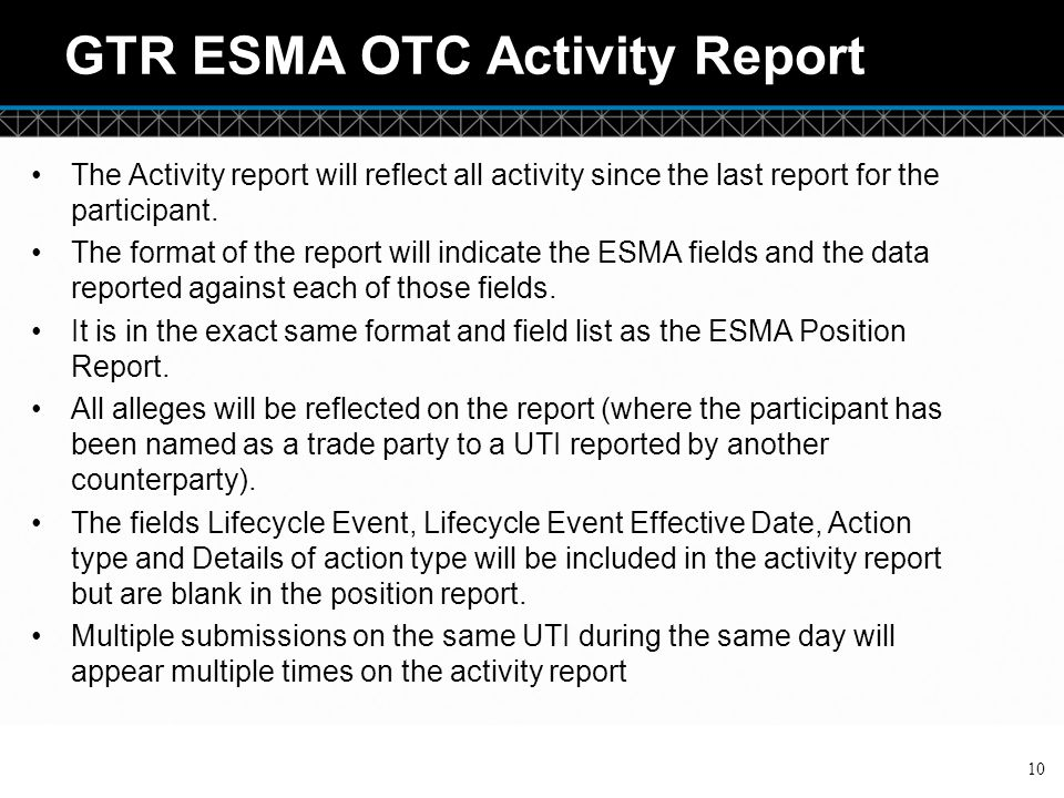 GTR ESMA OTC Activity Report