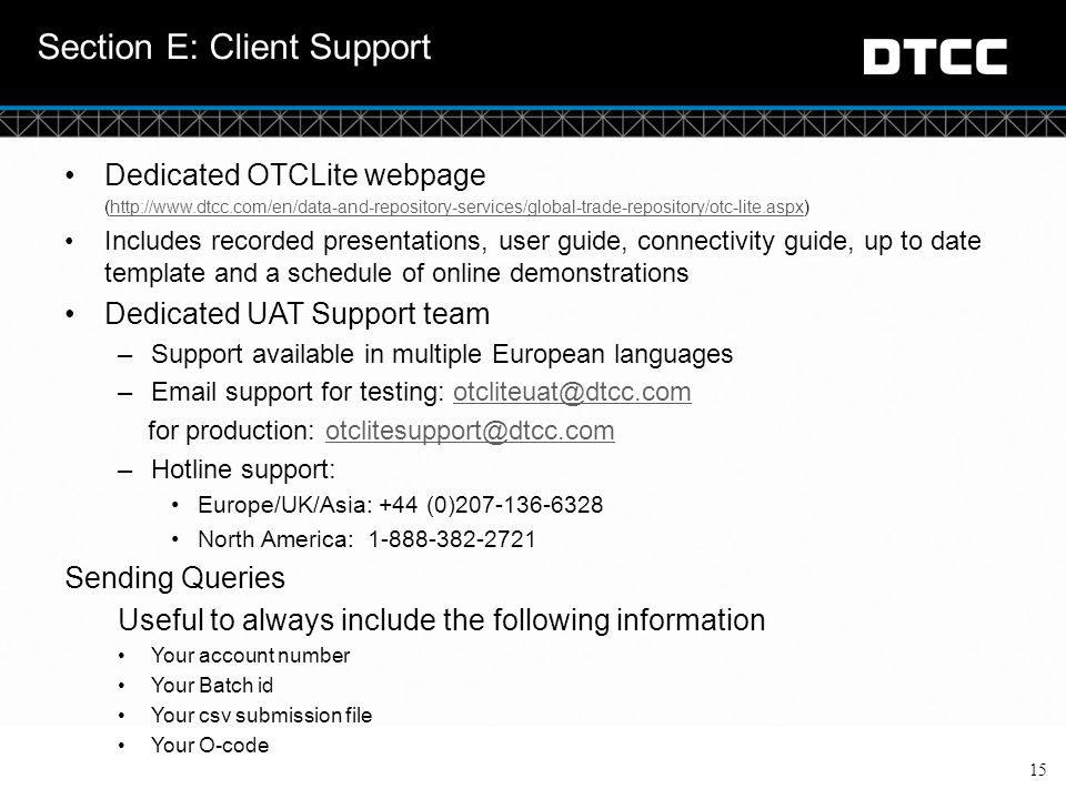 Section E: Client Support