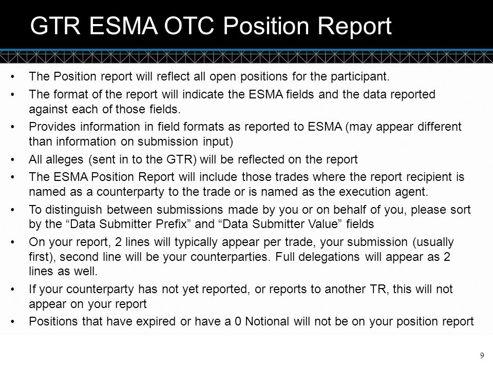 GTR ESMA OTC Position Report