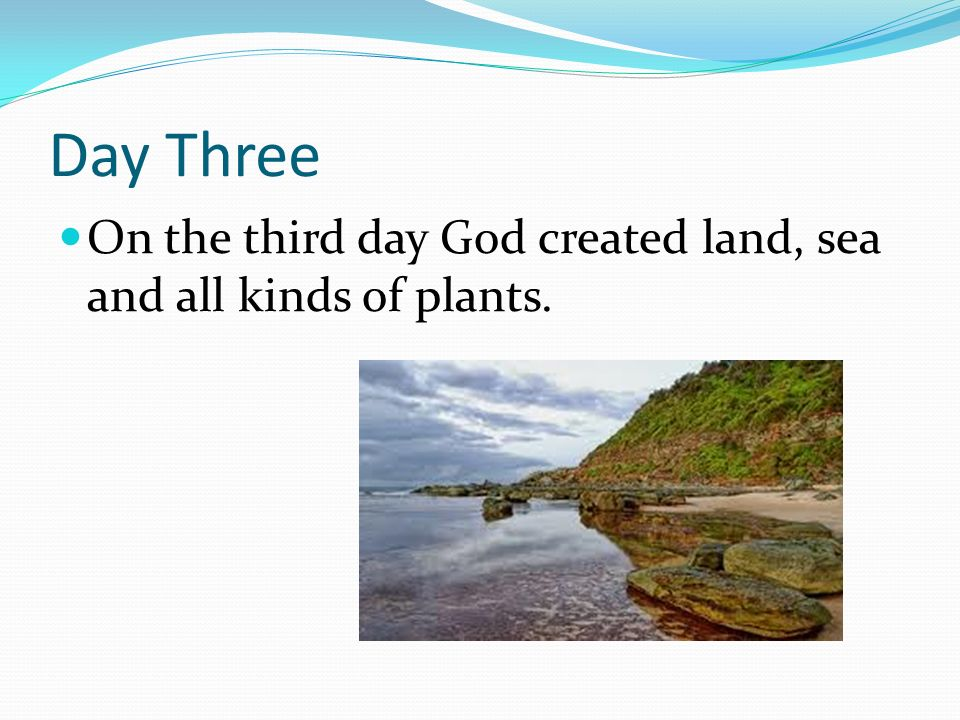 Day Three On the third day God created land, sea and all kinds of plants.