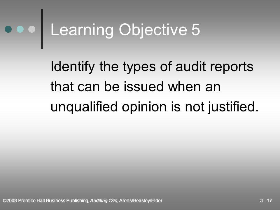 Learning Objective 5 Identify the types of audit reports
