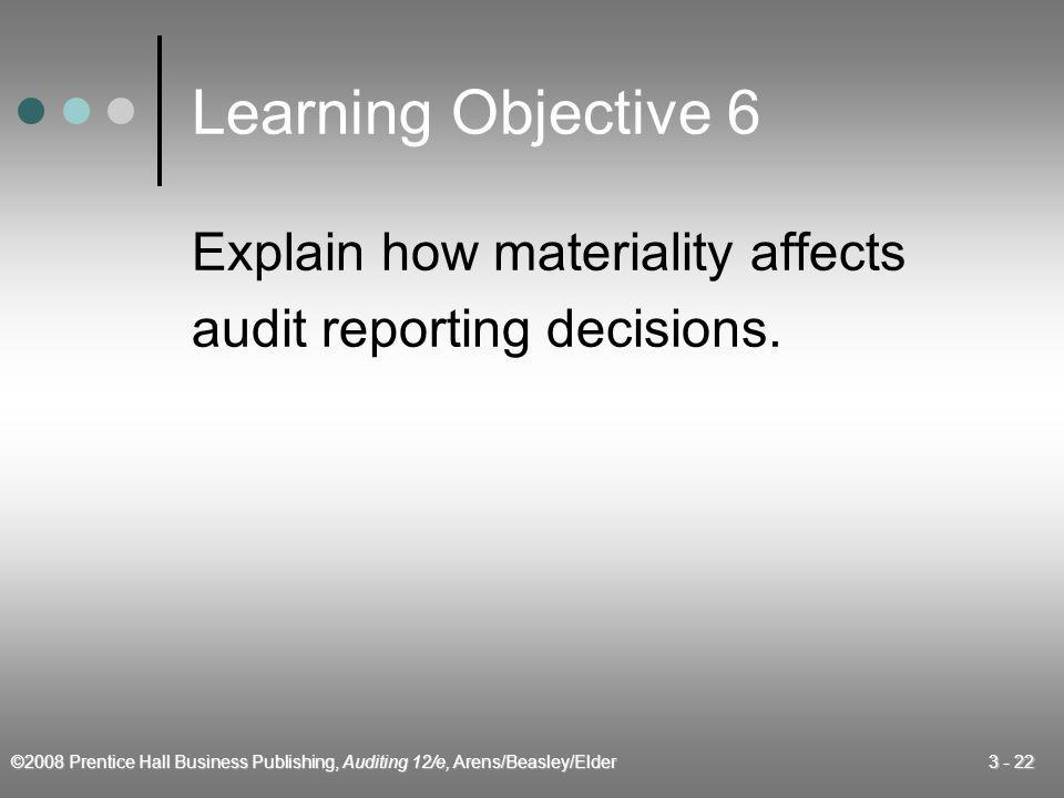 Learning Objective 6 Explain how materiality affects