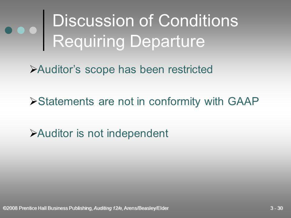 Discussion of Conditions Requiring Departure